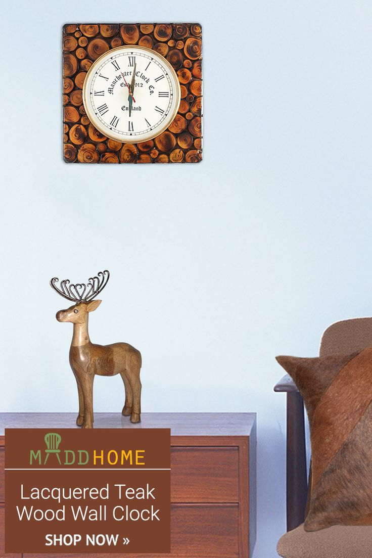 Lacquered Teak Wood Wall Clock!