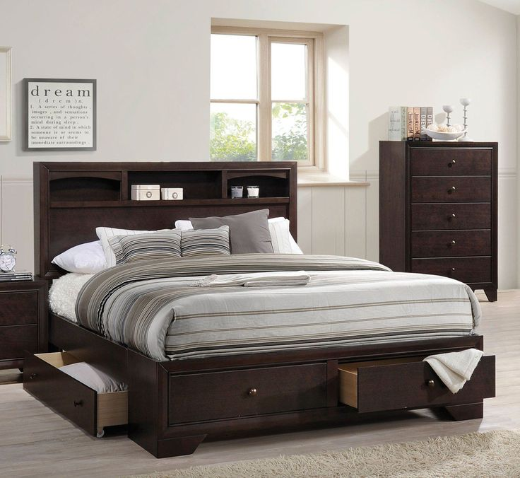 acme madison ii eastern king bed wstorage espresso 19557ek