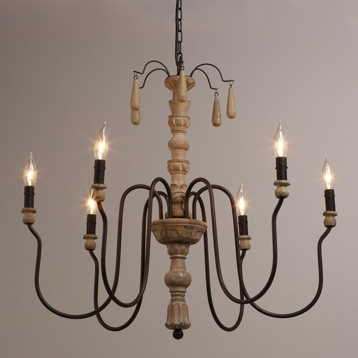 Features An Intricately Hand Carved Pedestal With Subtle Distressing Teardrop Bead Accents And Six Curved Candelabra Sockets Home Decor Lighting