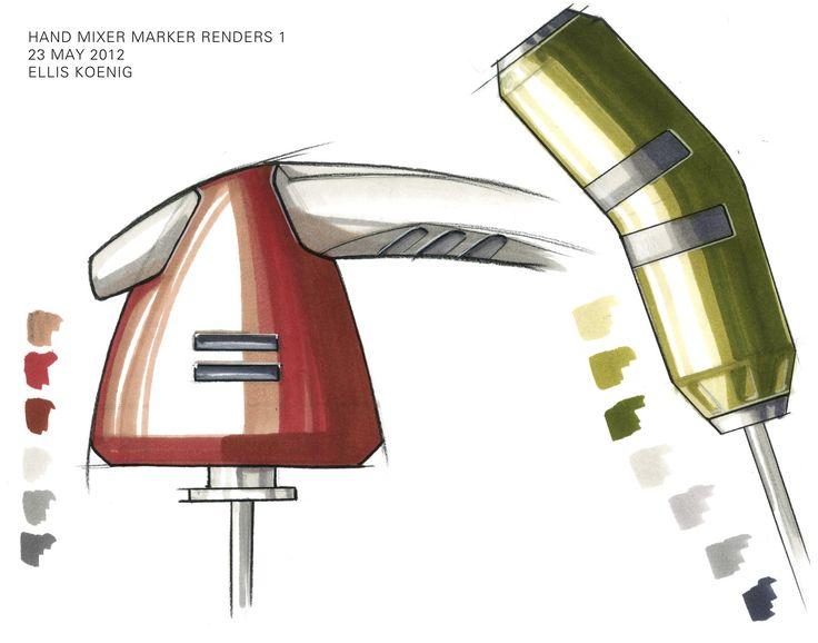 Hand mixer marker renderings by Ellis Koenig