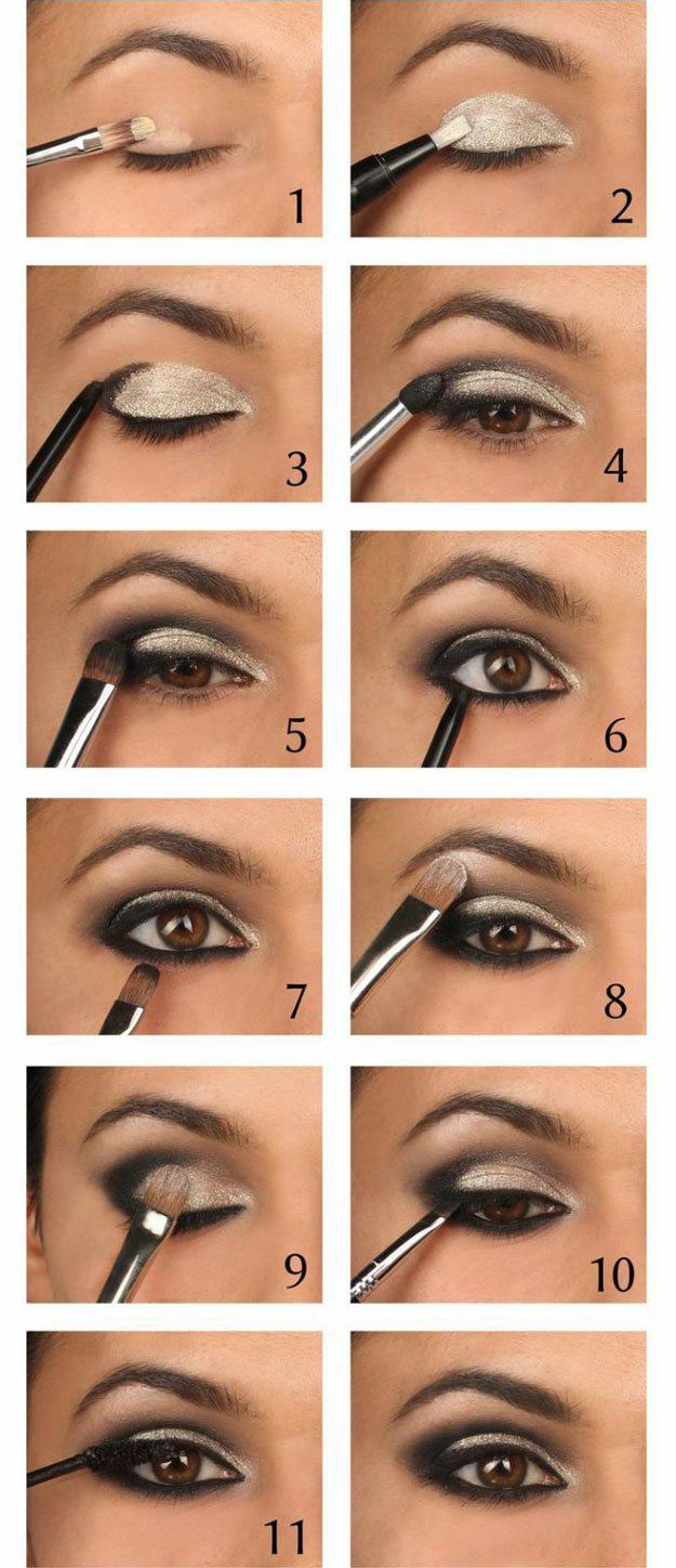 Sparkling Silver Eyeshadow Tutorial For Beginners | 12 Colorful Eyeshadow Tutorials For Beginners Like You! by Makeup Tutorials at http://makeuptutorials.com/colorful-eyeshadow-tutorials-for-beginners/