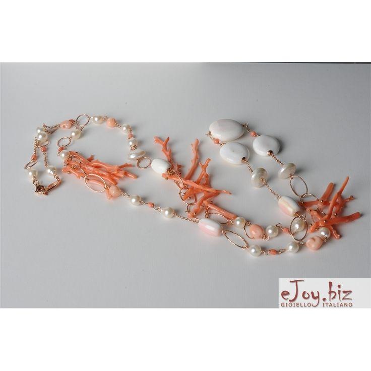 collane con conchiglie | Collana, corallo rosa, conchiglia, perle di fiume