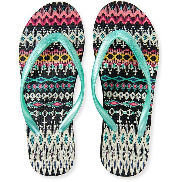Aeropostale Tribal Flip-Flop ($5) ❤ liked on Polyvore featuring shoes, sandals, flip flops, ocean mist, aeropostale sandals, colorful sandals, multi colored sandals, aeropostale shoes и boho shoes