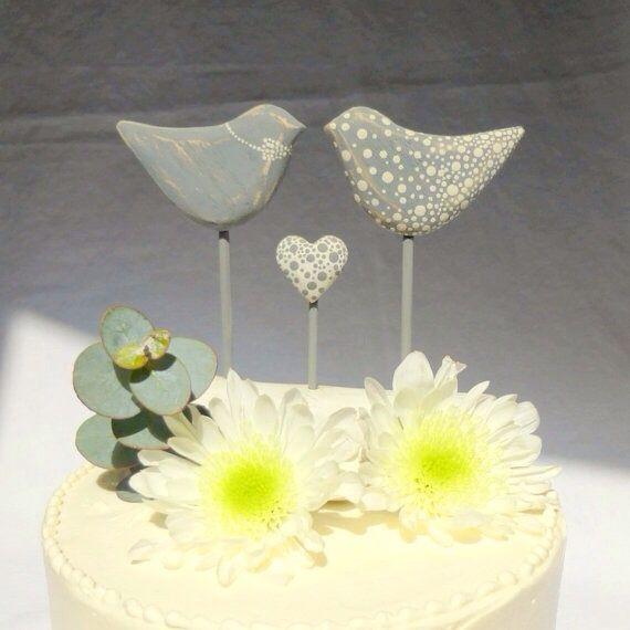 Love birds cake topper - blue (etsy)