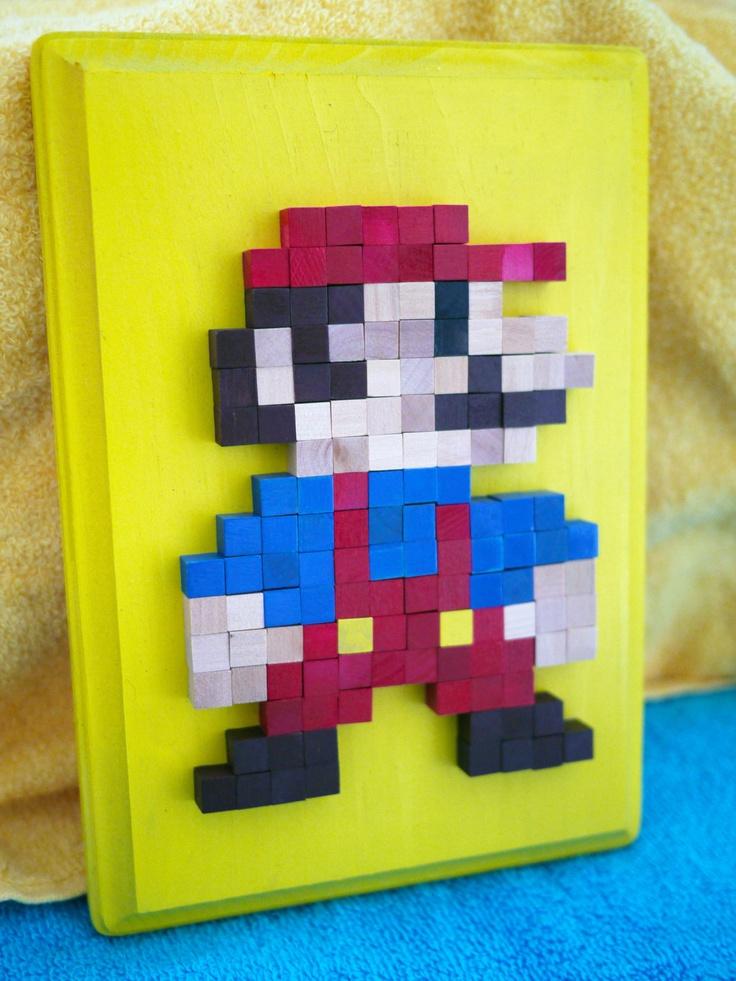 Nintendo Mini Mario Standing 8bit Wood Mosaic by 8BitMonkey