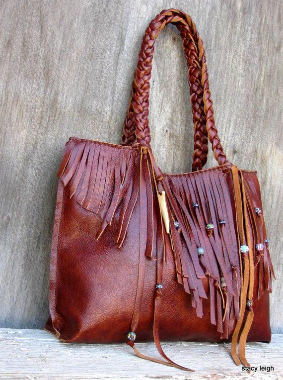 oxblood Leather fringe tote