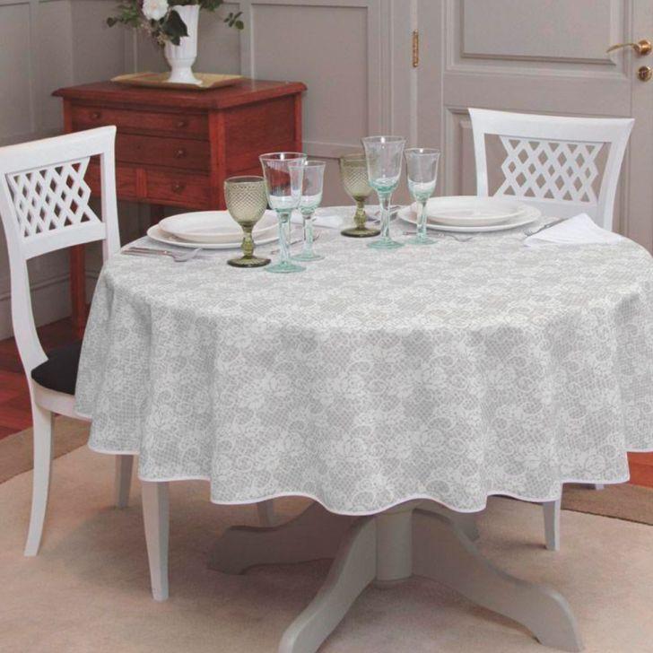 Toalha De Mesa Redonda Gardenia Elegance Branca 155x155 Toalha