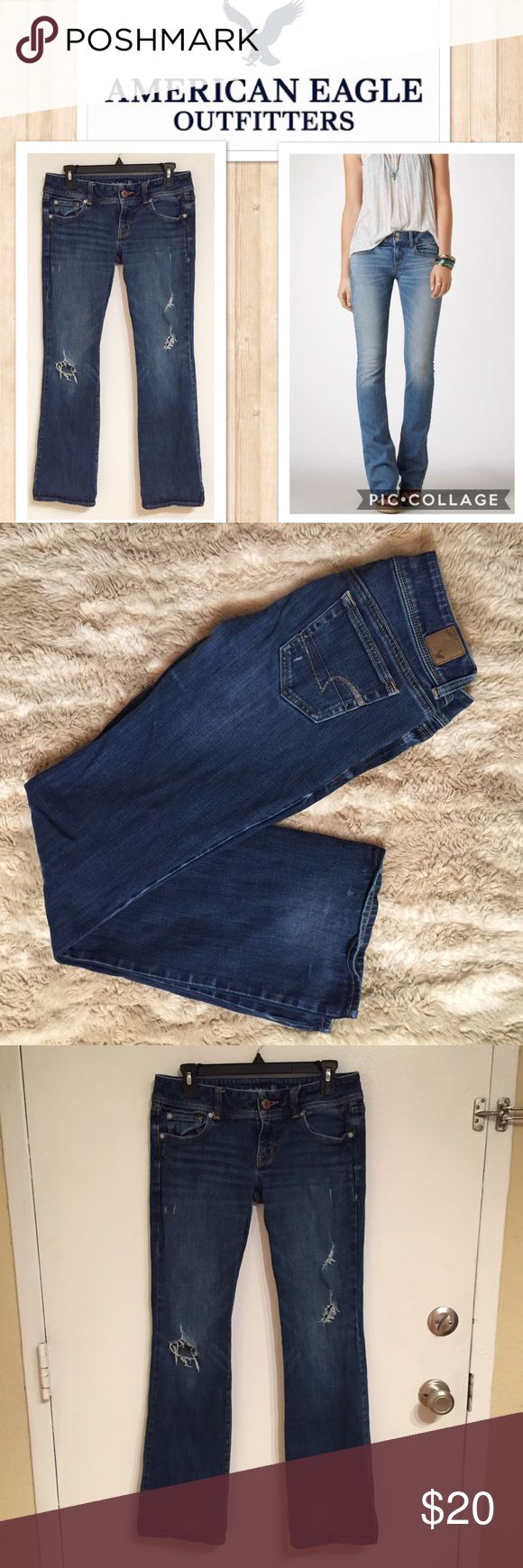 "American Eagle Slim Boot Distressed Jeans American Eagle ""Slim Boot"" distressed jeans. They do show some wear on the back by the heels. Size 8. Measures 16"" flat at the waist, and 31"" inseam. #americaneagleoutffiters #americaneagle #slim #boot #slimboot #jeans #denim #basic #staple #punkydoodle  No modeling Smoke free home I do discount bundles American Eagle Outfitters Jeans Boot Cut"
