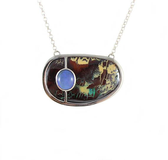 Australian boulder and jelly opal solid silver pendant