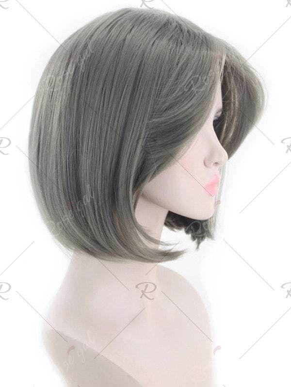 Lady Synthesis Perücke Kurz Dunkelgrau Glattes Haar Charmante Perücke # Cke # Kur ...   - Abschlussball-Frisuren - #AbschlussballFrisuren #charmante...