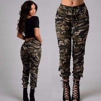 Wish   Women Fashion Casual Long Jeans and Pants Denim Straight Trouser Legging  Hole Pants Ripped Camo Jeans
