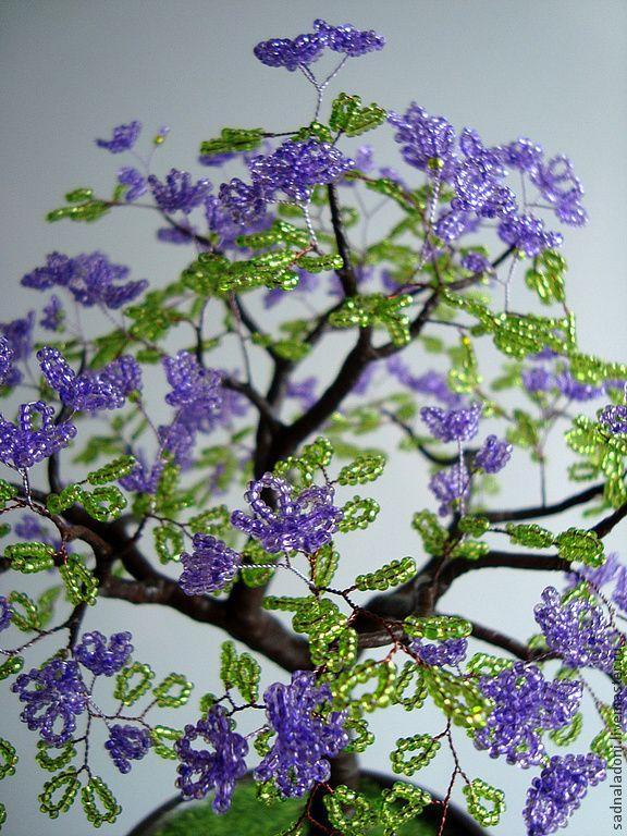 Купить Дерево из бисера Царственный фиолет - Дерево из бисера, Дерево счастья, фиолетовые цветы