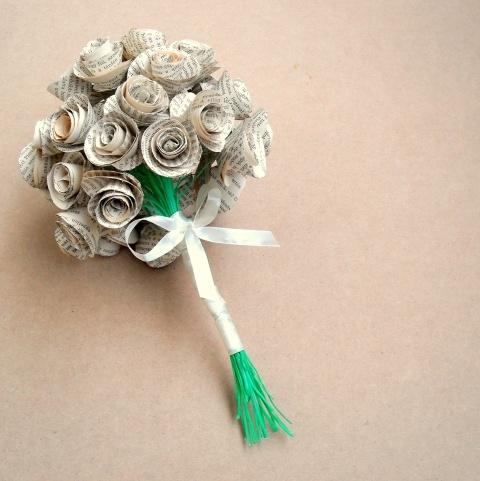 #book page #bouquet Regényes virágcsokor , Dekoráció, Otthon, lakberendezés, Esküvői kellékek, #meska
