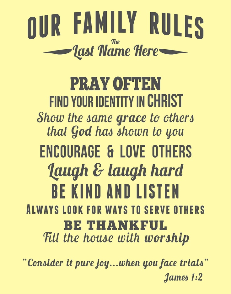 Family Rules for a Christ centered home. Beautiful.