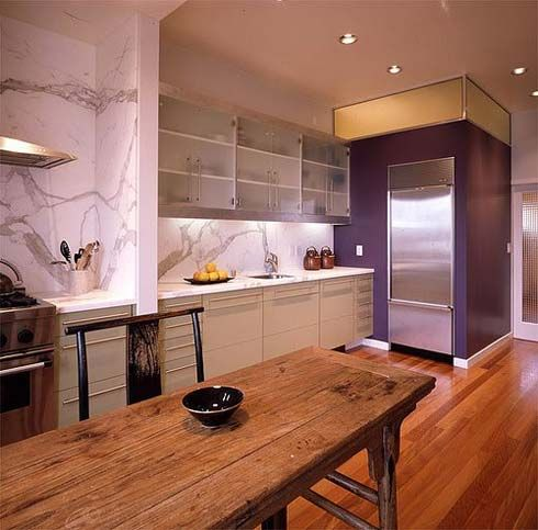 Inspiring Interior Designs to Décor Your Kitchen : Unique Interior Kitchen Design With Wooden Dining Table And Purple Cabinet Decorations
