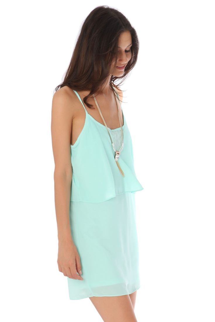 Green strappy layered mini dress<br/><div class='zoom-vendor-name'>By <a href=http://www.ustrendy.com/Q2>Q2</a></div>