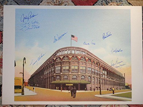 EBBETS FIELD HAND SIGNED OVERSIZED 16x22 PRINT SIGNED BY 10 BROOKLYN DODGERS - Autographed MLB Art * Details can be found by clicking on the image.