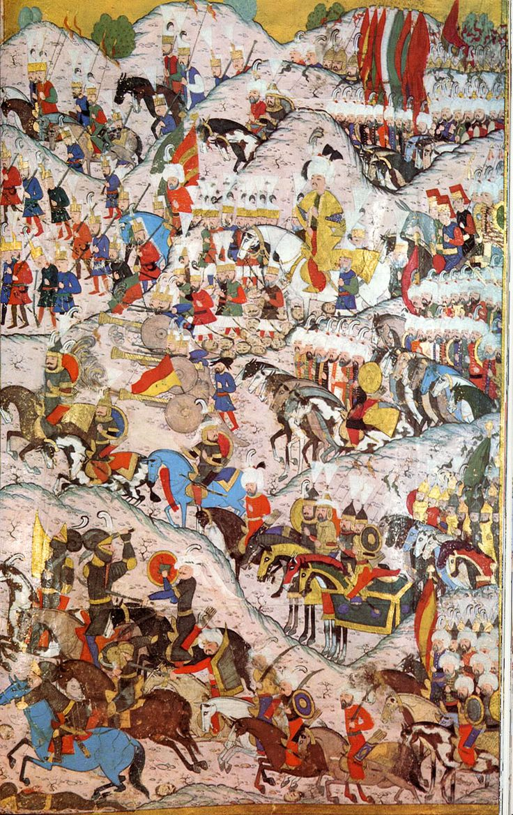 16th century Ottoman miniature of the battle of Mohacs, fought between the Ottomans and Hungarians in 1526, most of the Ottoman army is unarmored: