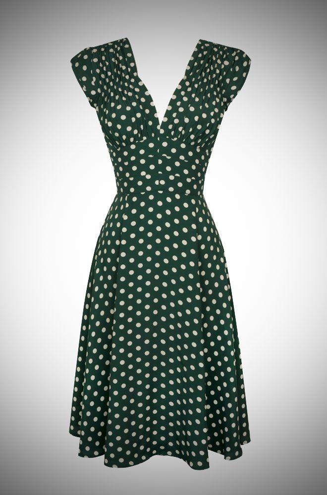 Pretty Irish inspired green and cream polka dot print 40s dress.