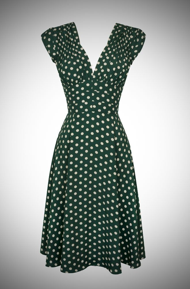 Pretty Irish inspired green and cream polka dot print 40s dress. Could use sew over it tea dress pattern for this