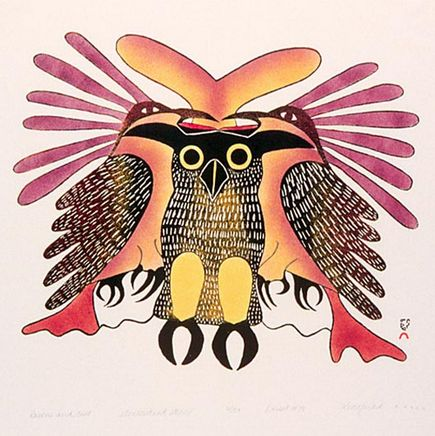 Kenojuak Ashevak (1927-1913) - Ravens and Owl, 1979 - Ashevak was regarded as one of the most notable Canadian pioneers of modern Inuit art.