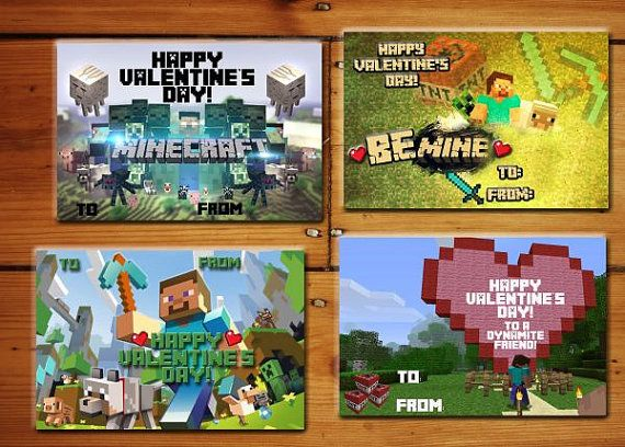 Instant Download Minecraft Valentine S Day Cards Labels You Print