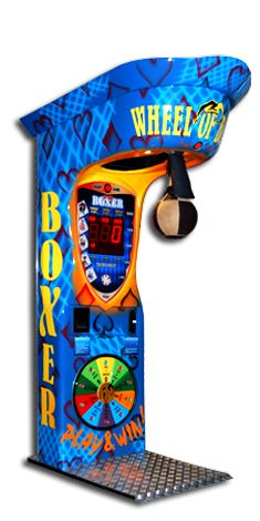 Wheel of Boxing machine allows winning prizes for high scores. Colorful LEDs imitate wheel of fortune game.