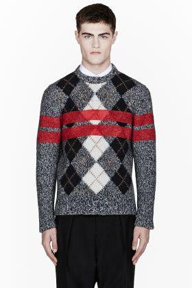 GIVENCHY Grey Melange Painted-Stripe Argyle Wool Sweater