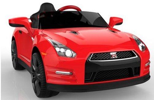 COCHES PARA NIÑOS - Nissan GTR 12v, mando RC paterno, blanco, IndalChess.com Tienda de juguetes online y juegos de jardin