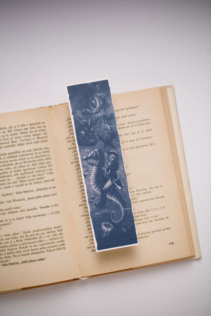 Baron Munchausen and his underwater ride, original illustration, silk-screen on paper bookmark