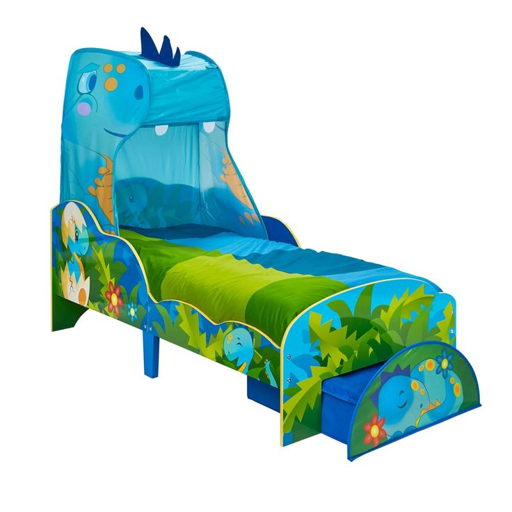 Dinosaurs Toddler Bed with Canopy and Storage Drawer ...