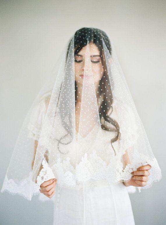 Chantilly Lace Veil, Bridal Veil, Polka Dot Veil, Swiss Dot Veil, French Lace Veil, Drop Lace Veil, Blusher Lace Veil, Two Layer Veil, 1630