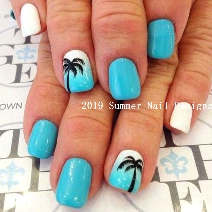 33 Cute Summer Nail Design Ideas 2019 2019nails Nail Nail Designs Summer Cute Summer Nail Designs Easy Nail Designs Summer