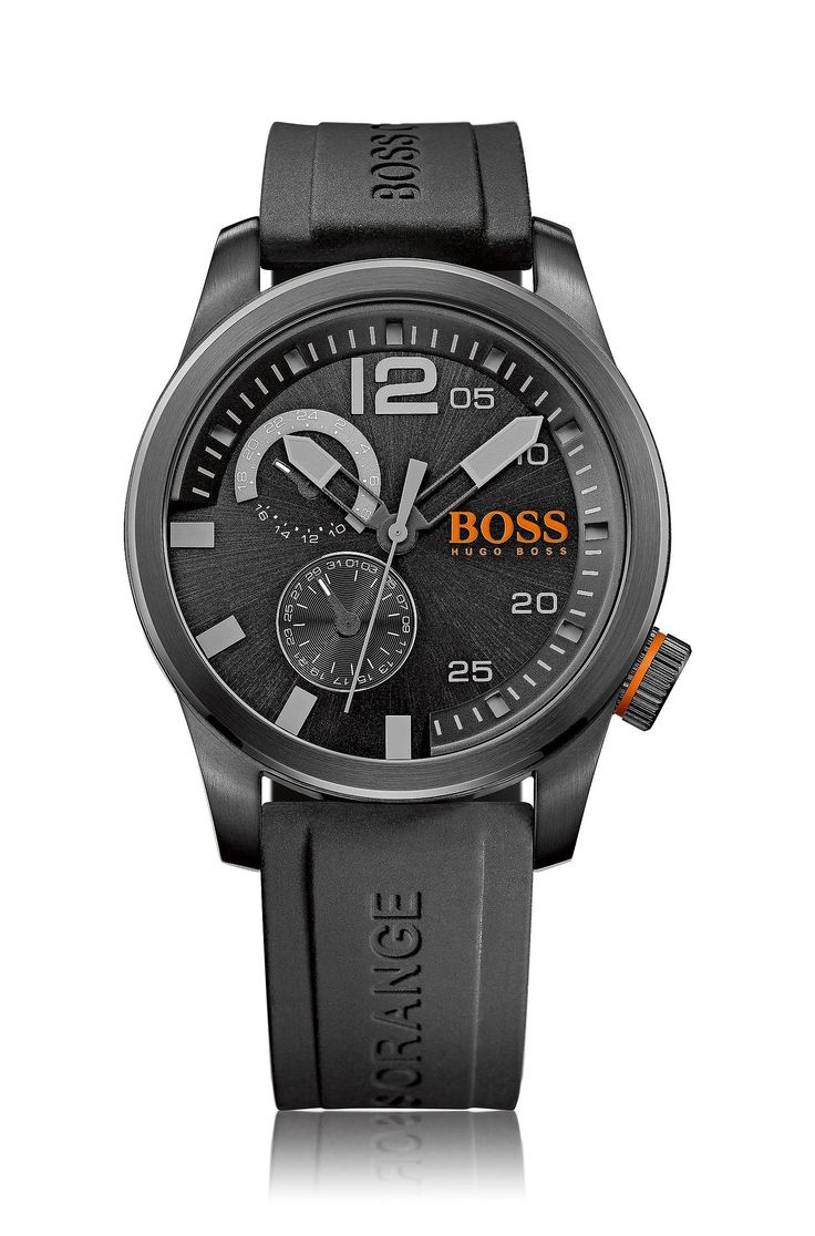 Blackened stainless-steel watch with multi-eye function and silicone strap