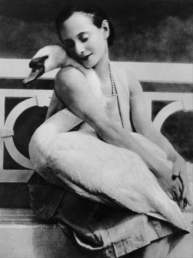 Russian ballet dancer, Anna Pavlova (1881-1931) and her pet swan, Jack.