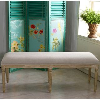 Clairette Wood Traditional French Bench   Overstock.com Shopping - The Best Deals on Benches