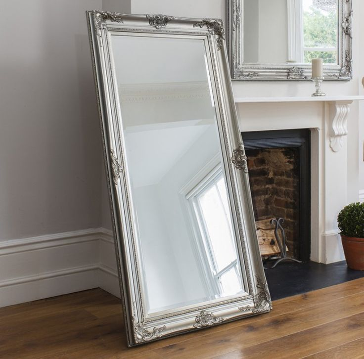42 best leaner mirrors images on pinterest big mirrors for Silver framed floor mirror