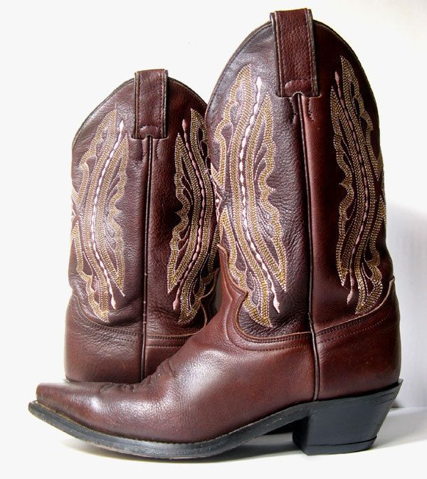 JUSTIN BOOTS 7 BROWN LEATHER COWBOY BOOTS SIZE 7 *PRIMO* Embroidered Boots #Justin #CowboyWestern