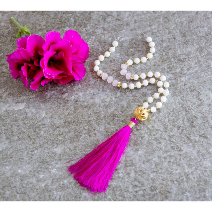 Long Hot Pink Tassel Necklace -Boho Style- White beaded Necklace with Cobalt Blue or Hot Pink Silk Tassel -Summer Necklace- Gold Pendant - pinned by pin4etsy.com