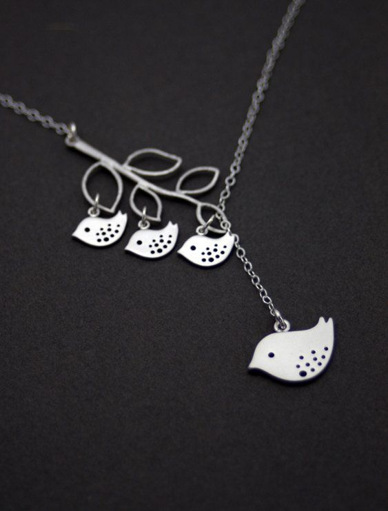 $36.50 Silver Jewelry Mama Bird and Babies Necklace by MenuetDesigns personalize with number of birds, website also has tiny leaf dangles that have initials on them.