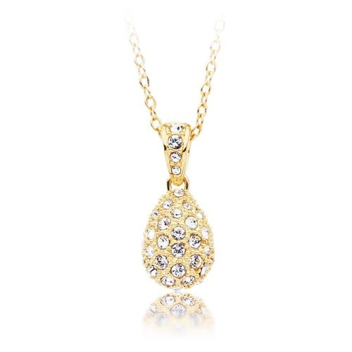 Heloise Crystal Pave Drop Pendant Gold Plated