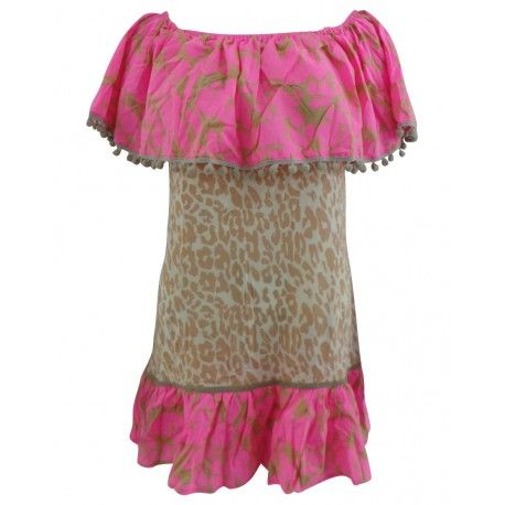 Fun and funky beach top cover-up, trimmed with pom-poms, Available in size S/M and M/L. Shop here.!
