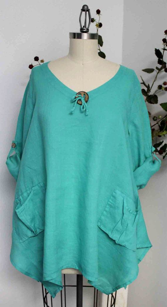 I have this pattern! B6056 Gotta have Summer New Linen Oversized designer Lagenlook Tunic top with Front Pockets