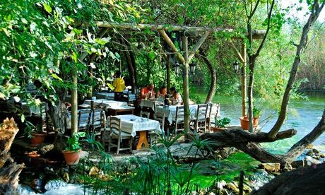 A rustic restaurant on the banks of the Azmak river near Akyaka. Photograph: Alamy. #TurquoiseCoast #Turkey