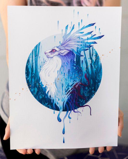 Original Inkjet Print mit dem Titel Ignorance, Darstellung der Wald Geist des Films Prinzessin Mononoke. Ursprünglich für ein Studio-Ghibli Tribut show Spirit of the Wind, 2015, wo erstellt Künstler Arbeit inspiriert von der Welt von Hayao Miyazaki.  11 x 14 Zoll Inkjet Aquarellpapier, Hand-verziert mit Glühen in der dunklen und goldenen Gouache-Farbe aufgedruckt.