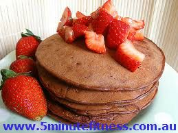 Best ever chocolate protein pancakes