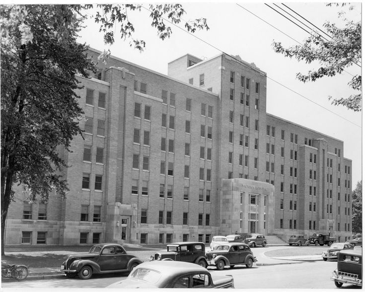 Victoria Hospital on South Street in London, Ontario... This photograph appears to have been taken shortly after the completion of this new hospital wing which was formally opened May 26, 1941.
