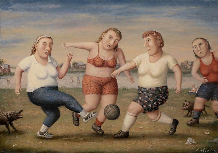 Vladimir Lubarov - Soccer players (2007), Oil on canvas, 70x100cm