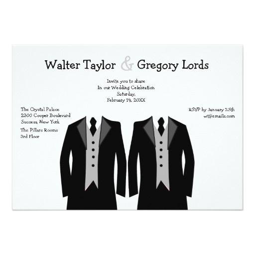 Shop Custom Black And White Gay Wedding Invitations created by dream_wedding